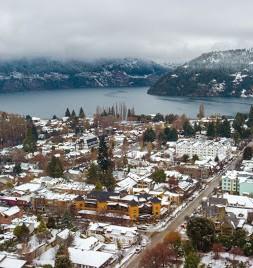 panormica pueblo nevado